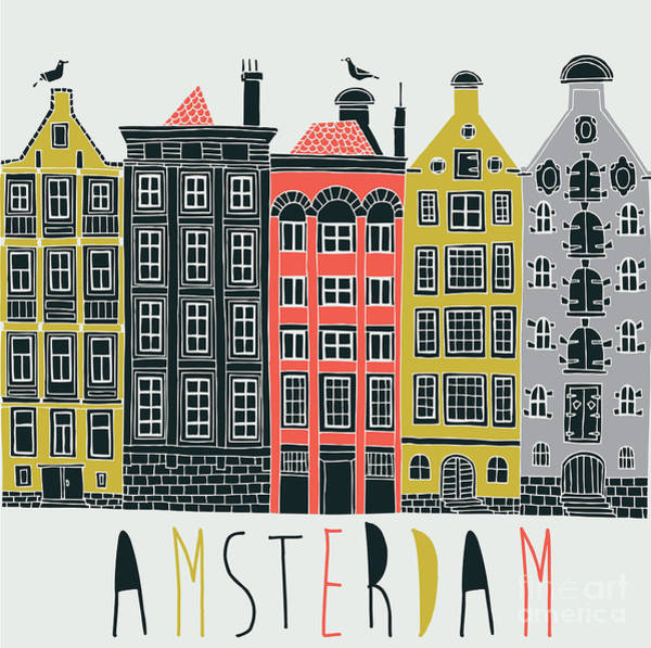 Iconic Digital Art - Amsterdam Canal Houses by Lavandaart