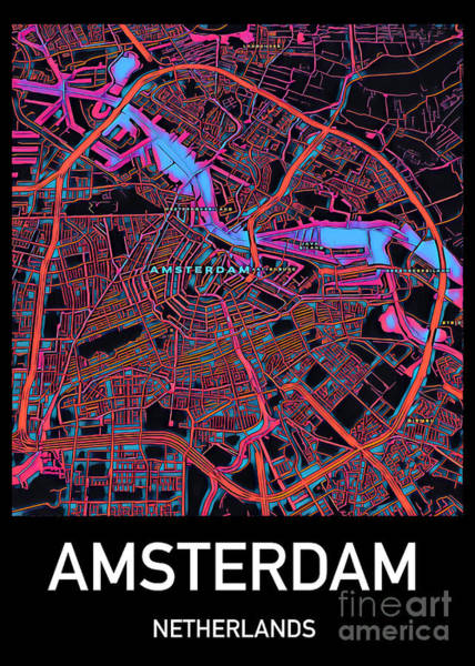 Digital Art - Amsterdam City Map by Helge