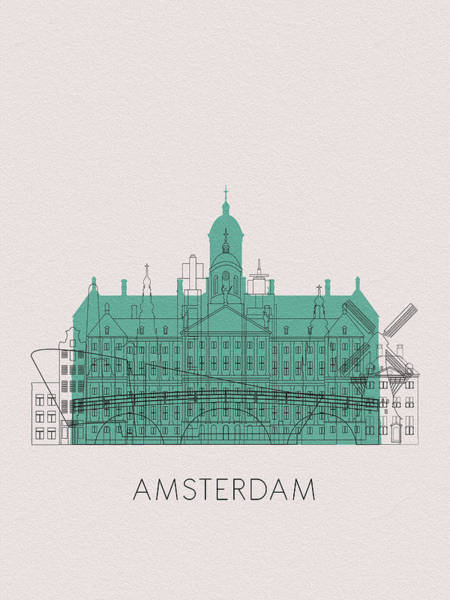 Holland Digital Art - Amsterdam Landmarks by Inspirowl Design