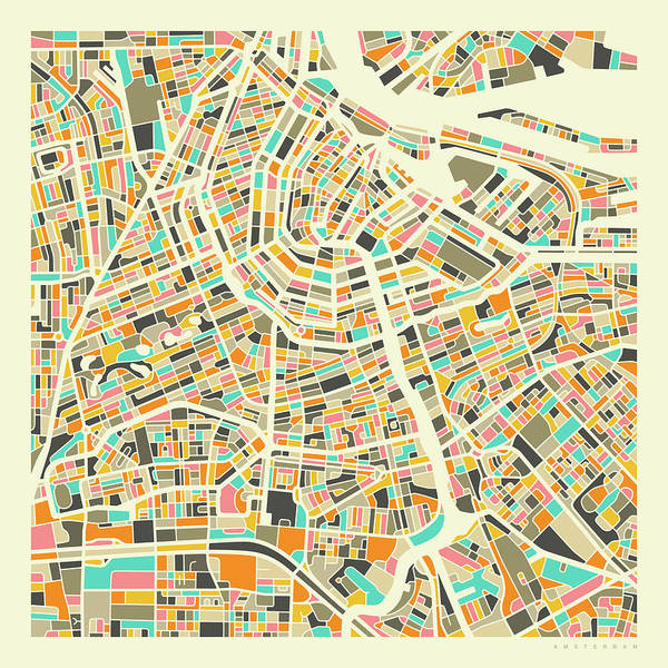 Streets Digital Art - Amsterdam Map 1 by Jazzberry Blue