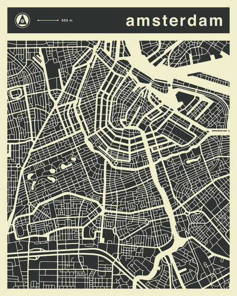 Streets Digital Art - Amsterdam Map 3 by Jazzberry Blue