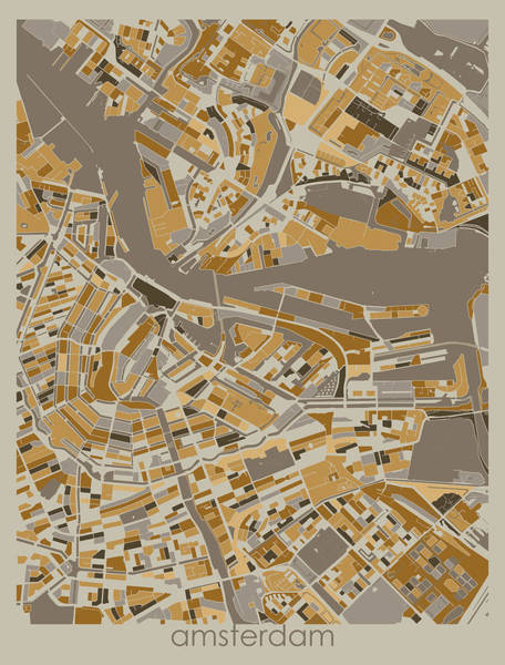 Wall Art - Digital Art - Amsterdam Map Retro 34 by Bekim M