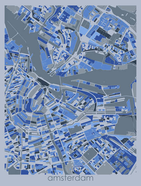 Wall Art - Digital Art - Amsterdam Map Retro 5 by Bekim M