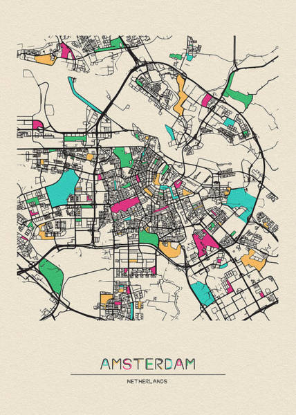 Holland Digital Art - Amsterdam, Netherlands City Map by Inspirowl Design