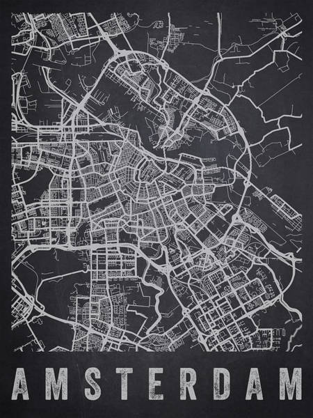 Holland Digital Art - Amsterdam Netherlands Street Map - Neam02 by Aged Pixel