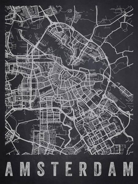 Wall Art - Digital Art - Amsterdam Netherlands Street Map - Neam02 by Aged Pixel