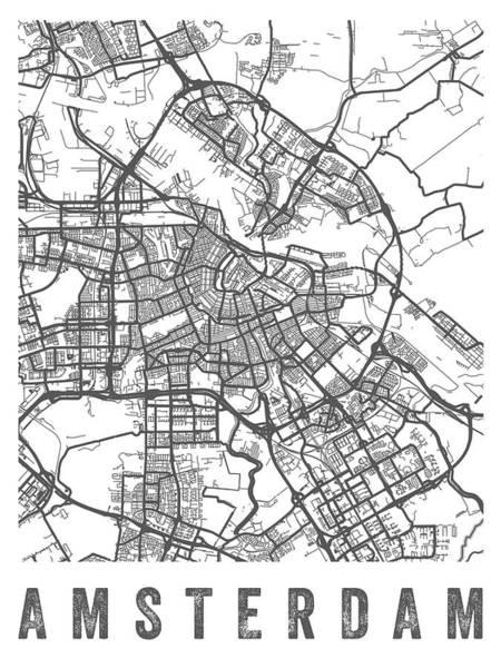 Wall Art - Digital Art - Amsterdam Netherlands Street Map - Neam01 by Aged Pixel