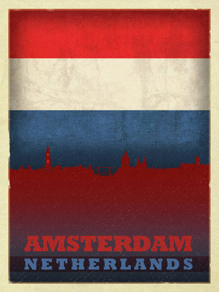 Wall Art - Mixed Media - Amsterdam Netherlands World City Flag Skyline by Design Turnpike