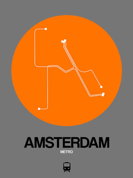 Wall Art - Digital Art - Amsterdam Orange Subway Map by Naxart Studio