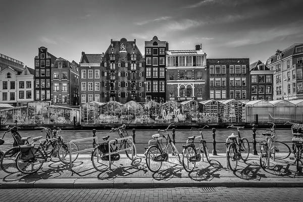 Wall Art - Photograph - Amsterdam Singel Canal With Flower Market - Monochrome by Melanie Viola