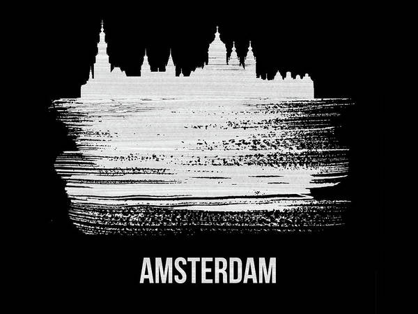Wall Art - Mixed Media - Amsterdam Skyline Brush Stroke White by Naxart Studio