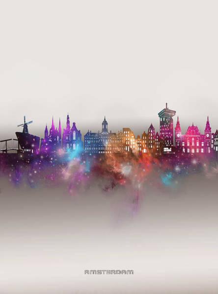 Wall Art - Digital Art - Amsterdam Skyline Galaxy by Bekim M