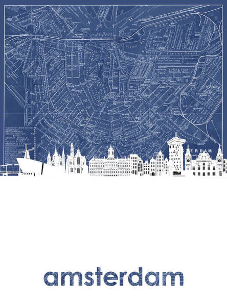Netherlands Digital Art - Amsterdam Skyline Map Blue by Bekim Art