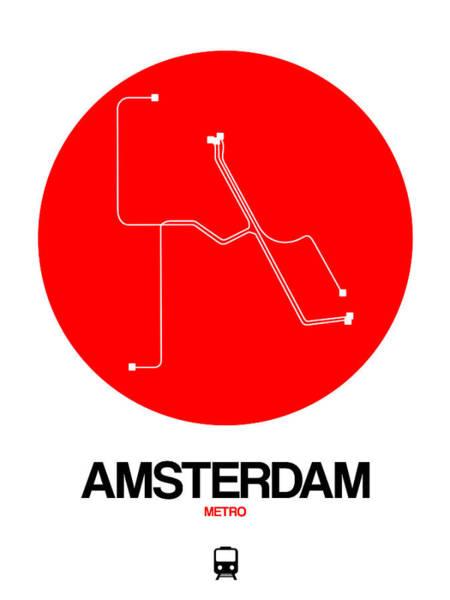 Wall Art - Digital Art - Amsterdam White Subway Map by Naxart Studio