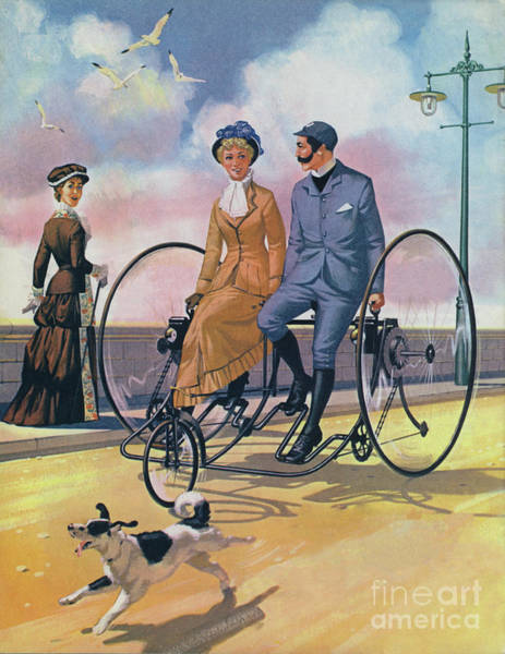 Wall Art - Painting - An 1882 Bicycle Made For Two  by Angus McBride