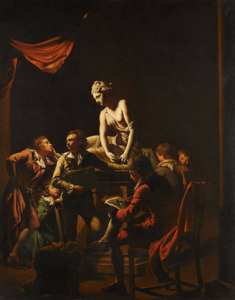 Goddess Of Love Wall Art - Painting - An Academy By Lamplight by Joseph Wright of Derby