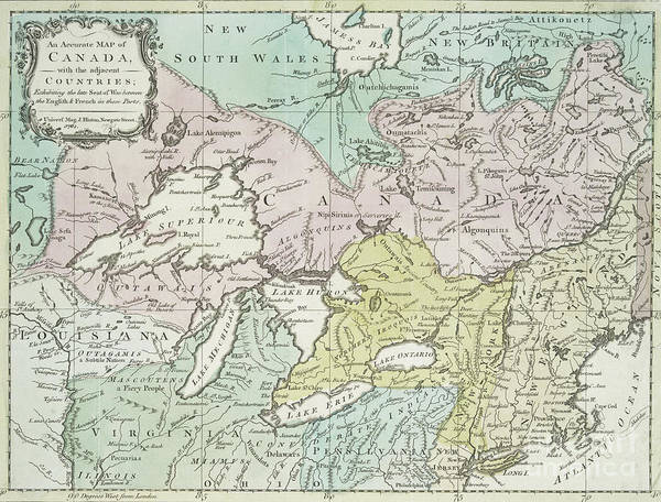 Wall Art - Drawing - An Accurate Map Of Canada, With The Adjacent Countries, 1761  by Richard William Seale