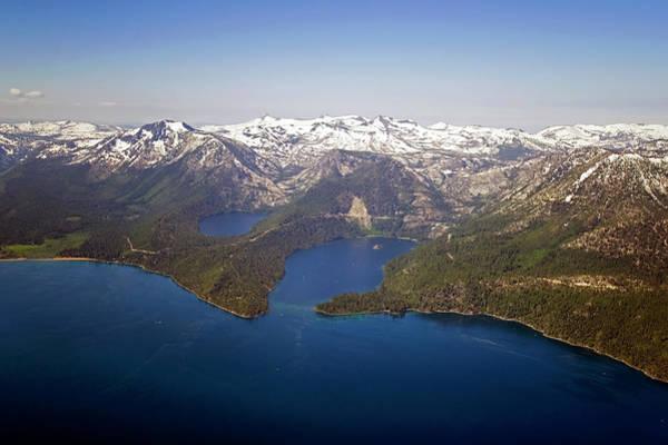 Lake Tahoe Photograph - An Aerial Photograph Of Lake Tahoe And by Rachid Dahnoun