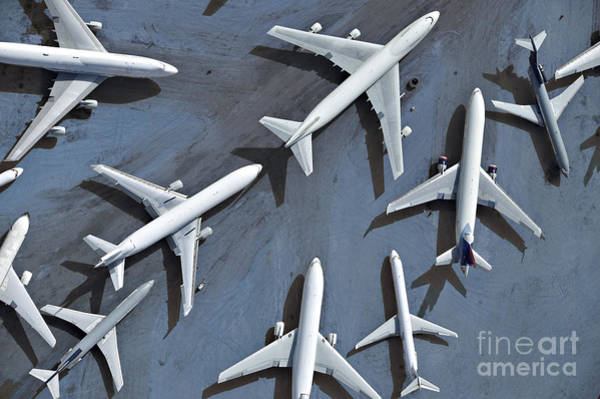 Storage Photograph - An Aerial View Of Multiple Airplanes On by Azp Worldwide