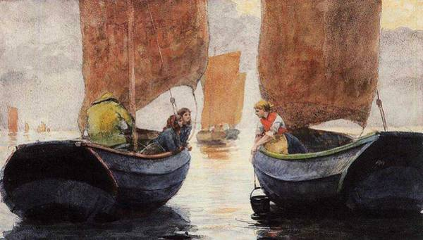 Wall Art - Painting - An Afterglow Winslow Homer by Celestial Images