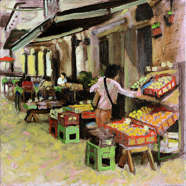 Dining Al Fresco Painting - An Afternoon  Shopping by David Zimmerman