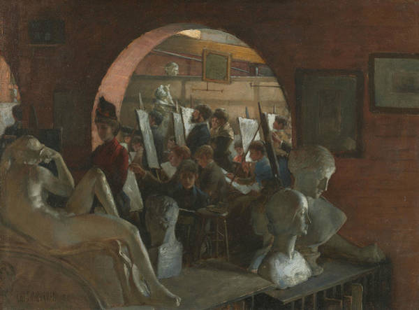 Wall Art - Painting - An Alcove In The Art Students' League by Charles Courtney Curran