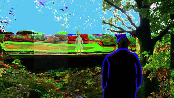 Digital Art - An Alien Comes To Visit by Joy McKenzie