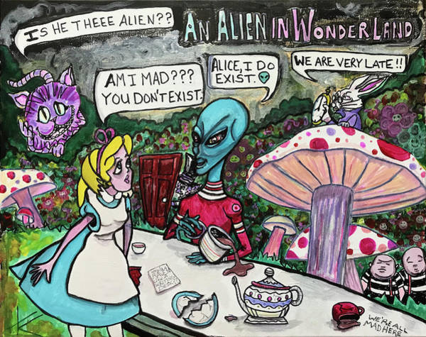Painting - An Alien In Wonderland by Similar Alien