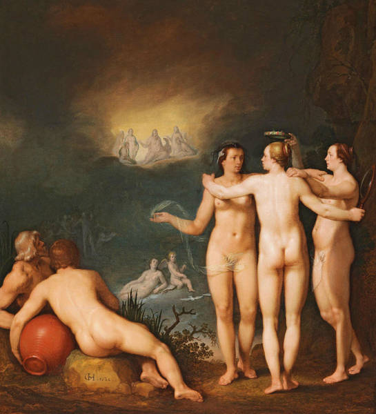 Wall Art - Painting - An Allegorical Scene Featuring The Three Graces Aglaia by Cornelis van Haarlem