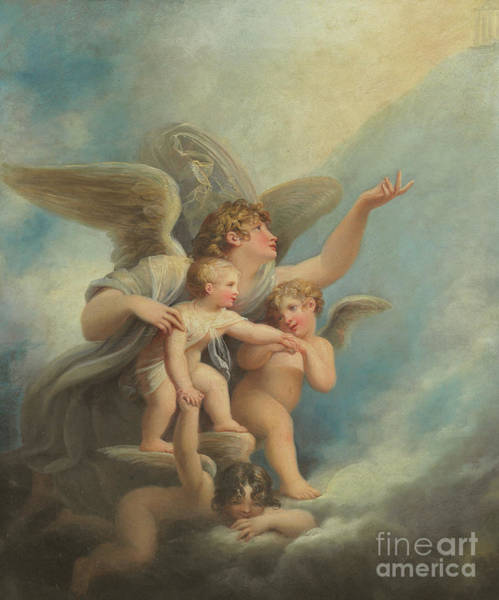 Wall Art - Painting - An Angel And Putti  by Maria Hadfield Cosway