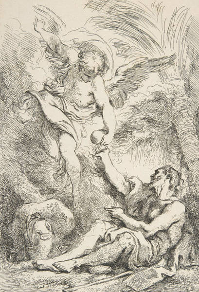 Relief - An Angel Bringing Food To A Hermit by Jean-Honore Fragonard