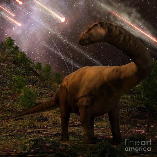 Wall Art - Digital Art - An Apatosaurus Looks Upon Meteors by Auntspray