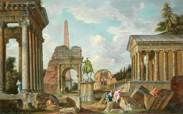 Collapse Painting - An Architectural Capriccio by Giovanni Paolo Panini