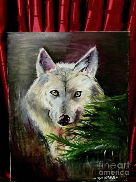 Arctic Wolf Painting - An Arctic Wolf Seeing Through The Soul by Thinara Sansiluni