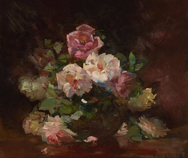 Wall Art - Painting - An Arrangement Of Pink Roses by Franz Bischoff