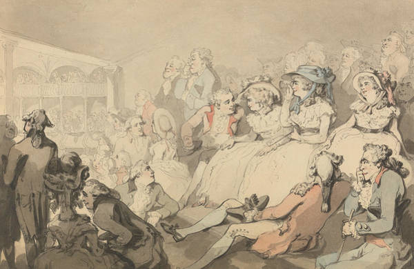 Wall Art - Drawing - An Audience Watching A Play At Drury Lane Theatre by Thomas Rowlandson