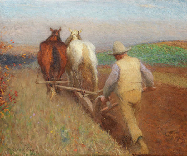Ploughing Painting - An Autumn Morning, Ploughing  by Sir George Clausen