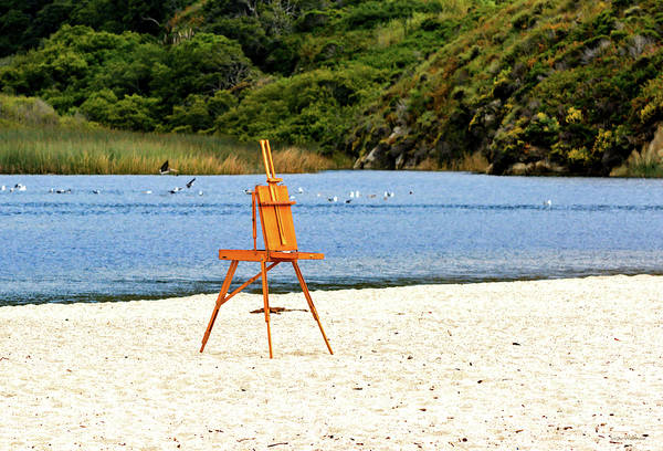 Photograph - An Easel Waiting On The Sand by Susan Wiedmann