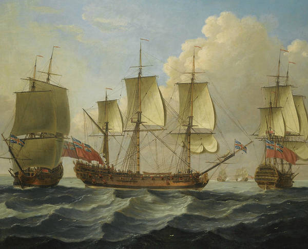 Wall Art - Painting - An East Indiamam In Three Positions by John Cleveley the Elder