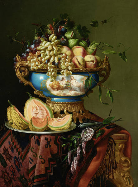 Elaborate Wall Art - Painting - An Elaborate Still Life Of Grapes, Peaches And Figs In A Porcelain Bowl With A Cantaloupe On A Silve by Ignace Spiridon