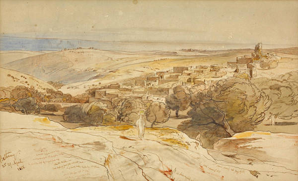 Drawing - An Extensive View Of Bethany by Edward Lear