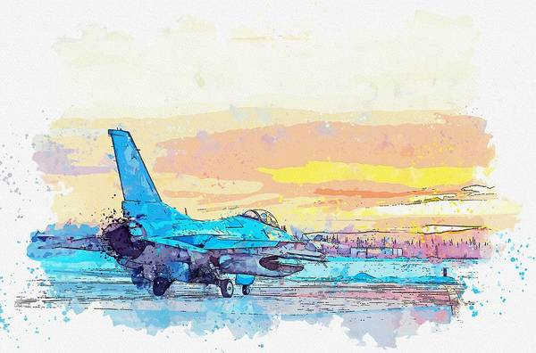 Wall Art - Painting - An F-16 Fighting Falcon Watercolor By Ahmet Asar by Ahmet Asar