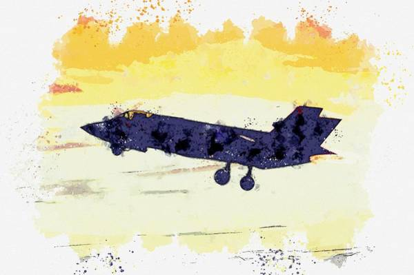 Wall Art - Painting - An F-35 Lightning II, U.s. Air Force Watercolor By Ahmet Asar by Ahmet Asar