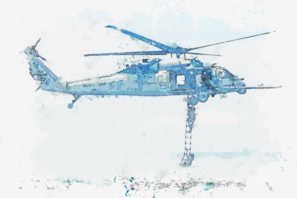Wall Art - Painting - An Hh-60g Pave Hawk On A Rescue Mission, U.s. Air Force Watercolor By Ahmet Asar by Ahmet Asar