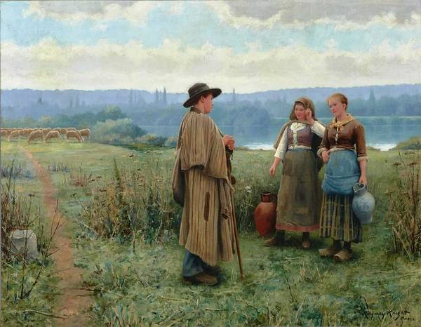 Wall Art - Painting - An Idle Moment,  Daniel Ridgway Knight American, 1839-1924 by Celestial Images