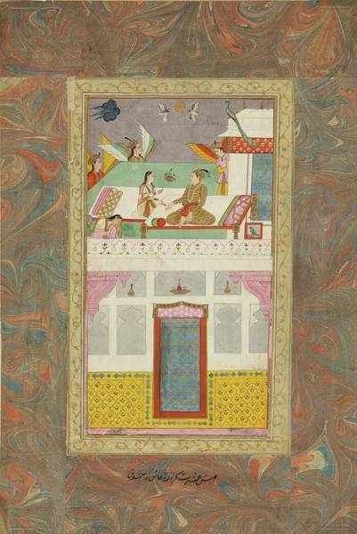 Wall Art - Painting - An Illustrated And Illuminated Album Page  A Nobleman And Maiden On A Palace Roof, India, Deccan, 17 by Celestial Images