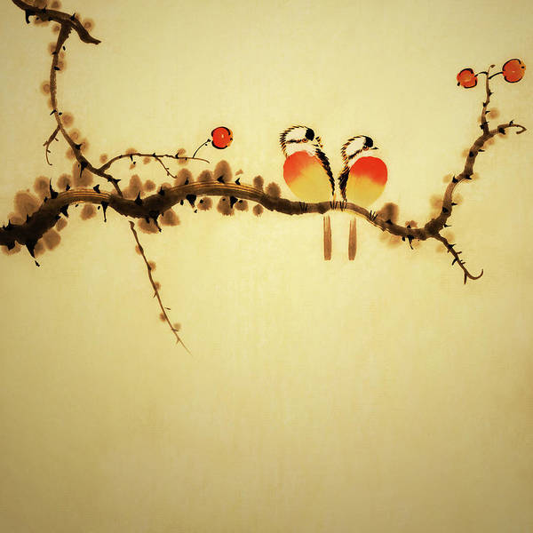 Calligraphy Digital Art - An Illustration Of Two Birds On A Branch by Vii-photo