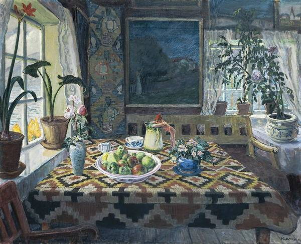 Nikolai Astrup Painting - An Interior With A Still Life  The Parlour At Sandalstrand  by Nikolai Astrup
