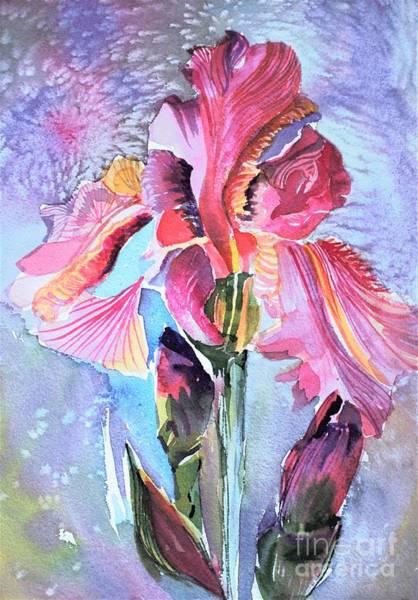 Wall Art - Painting - An Iridescent Iris  by Mindy Newman