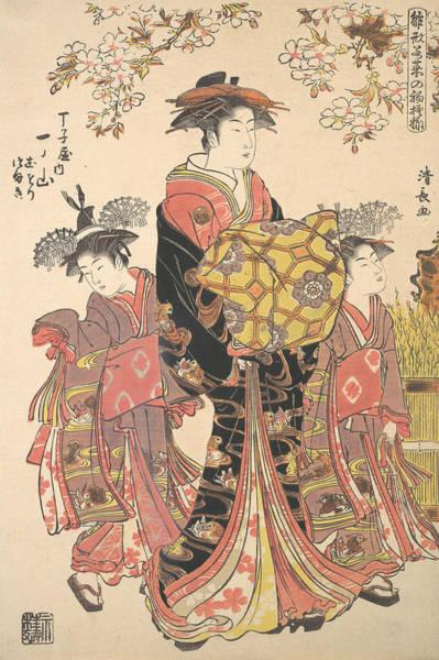 Relief - An Oiran Accompanied By Two Kamuro by Torii Kiyonaga